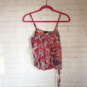 💐5/$25!💐AEO sheer floral ruffle tank top XS